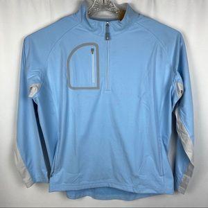 Peter Millar Sweaters - Peter Millar Crown Sport Blue Quarter Zip Sweater